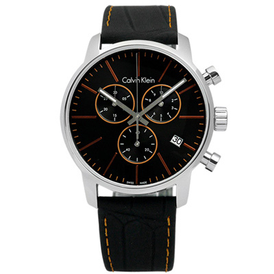 CK  紳士高端奢華三環日期皮革腕錶-橘黑x黑 /43mm
