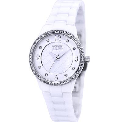 NATURALLY JOJO 迷人晶鑽陶瓷時尚手錶-白X金/30mm