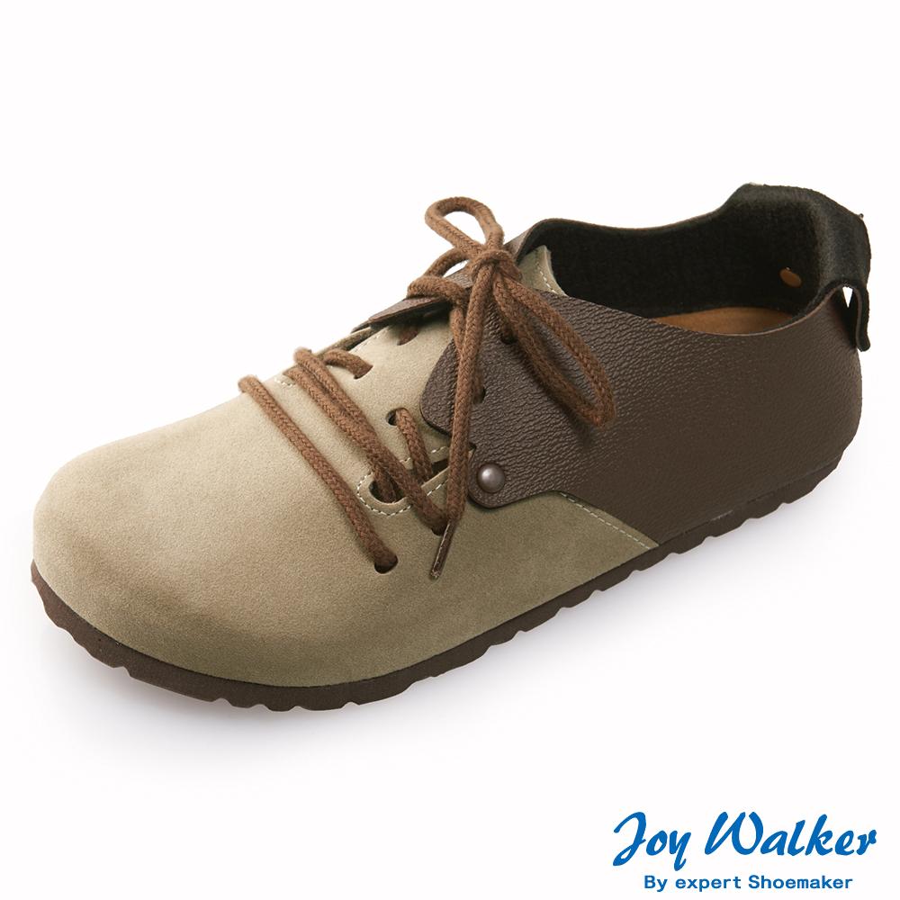 Joy Walker 休閒撞色拼接綁帶包鞋* 深咖卡其