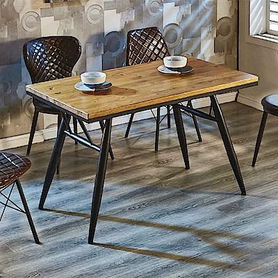 AT HOME-工業風設計4尺實木鐵藝餐桌(120*70*76cm)費迪