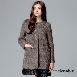 獨身貴族 粗曠感織紋毛呢長版大衣(2色)