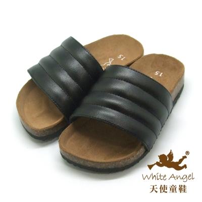 天使童鞋 米羅貝殼親子拖鞋 (中-大童) 黑 J775