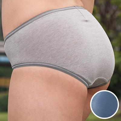 華歌爾-健康黑竹炭M-LL中腰高裾三角褲(礦石藍)