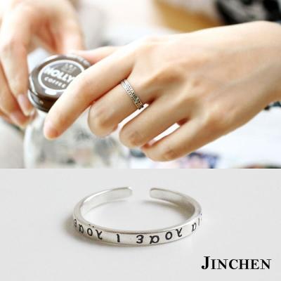 JINCHEN 純銀希臘字母開口戒指