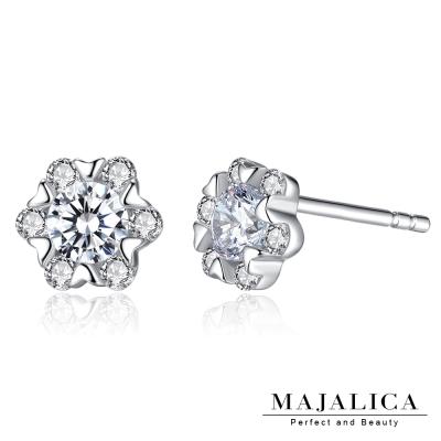 Majalica純銀耳環 小花朵 擬真鑽0.3克拉 925純銀