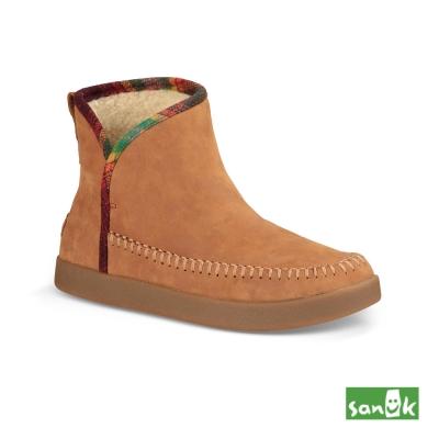 SANUK 復古皮革刺繡短靴-女款(褐色)