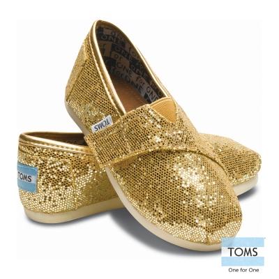 TOMS 絢麗亮片懶人鞋-幼童款(金)