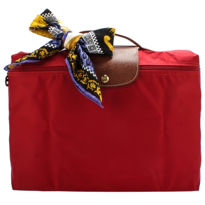 Longchamp Le Piage拉鍊尼龍摺疊公事包-紅色(加贈帕巾)