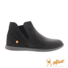 SOFTINOS (女) 個性中筒牛皮休閒鞋-黑