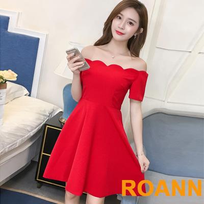波浪一字領露肩短袖洋裝 (共二色)-ROANN