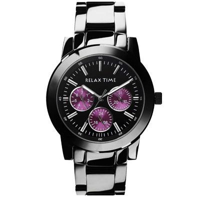 RELAX TIME 經典三眼錶款-黑紫/42mm