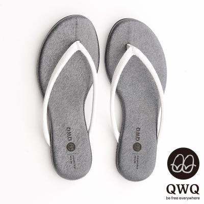 QWQ夾拖的創意(女) - GLITTER閃爍星光白色人字帶夾拖 - 星鑽灰