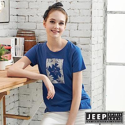 JEEP女裝 轉印圖騰圓領短袖T恤-藍色