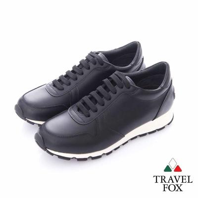 Travel Fox (男)- 光采 全牛皮都會慢跑運動鞋- 黑