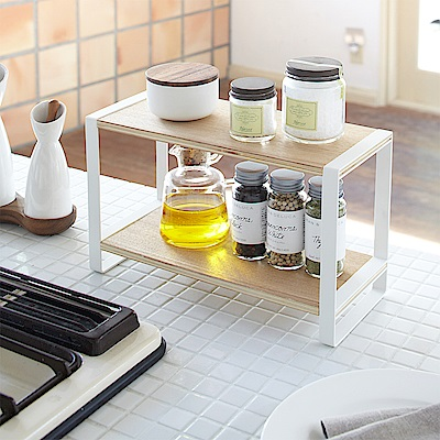 日本 YAMAZAKI-tosca 木紋雙層架★廚房用品/收納架/置物架