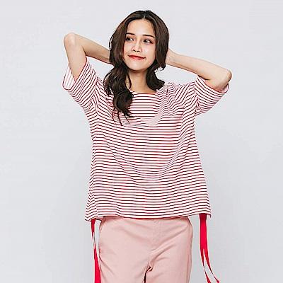 Hang Ten - 女裝 - 雙邊綁帶條紋T恤-紅色