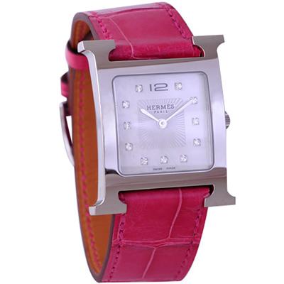 HERMES H-OUR 系列經典時尚真鑽腕錶-珍珠x桃紅錶帶/25mm