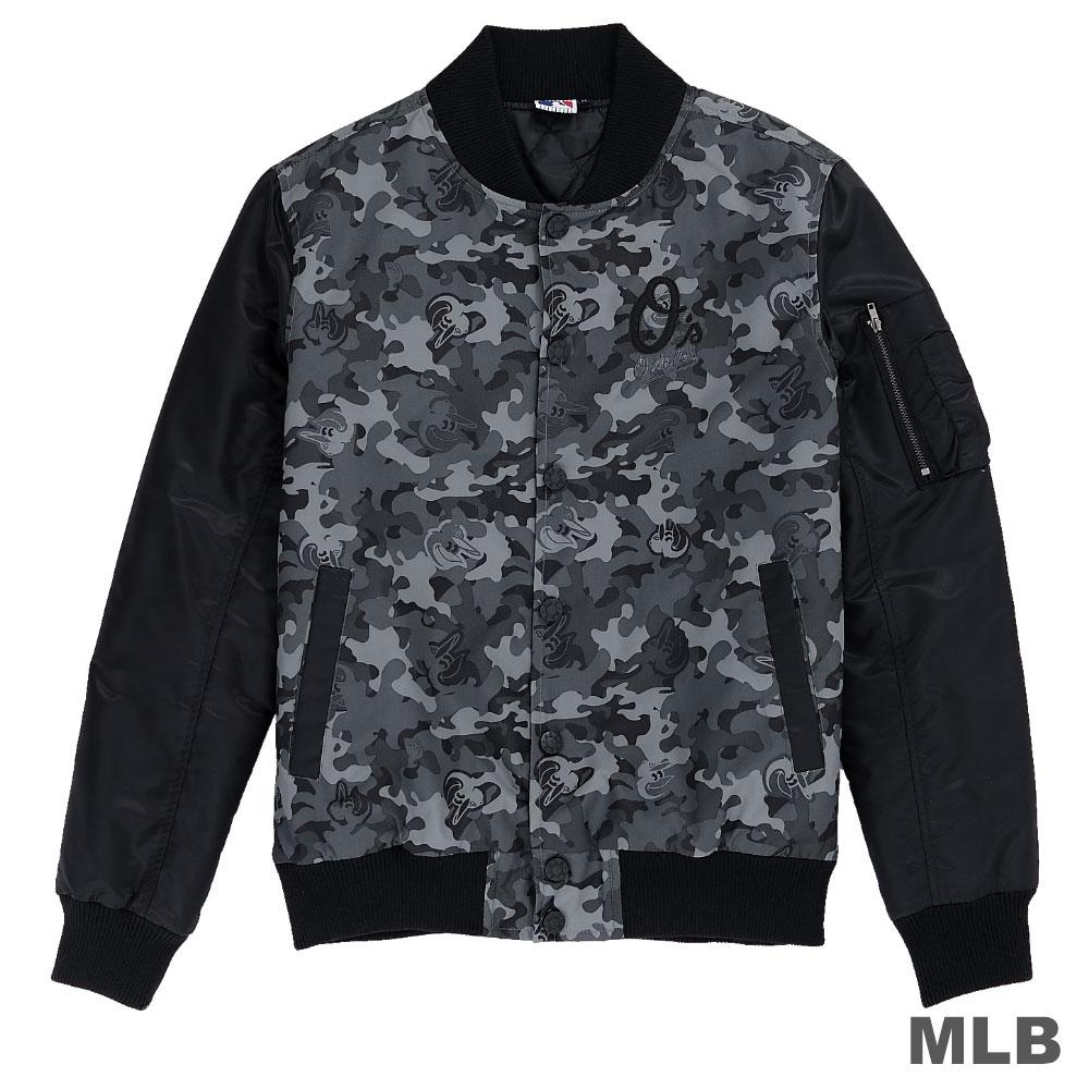 MLB-巴爾的摩金鶯隊休閒合身迷彩棒球外套-深灰(男)
