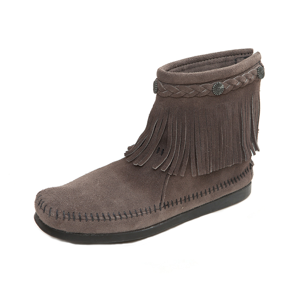 MINNETONKA-HI TOP經典麂皮流蘇短靴-灰色