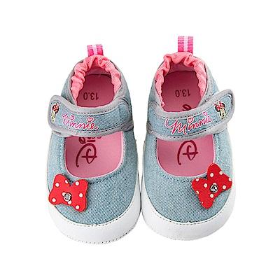 迪士尼 米妮 牛仔風蝴蝶結造型 娃娃鞋-藍
