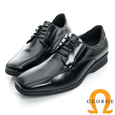GEORGE-經典素面綁帶厚底真皮方頭鞋-黑色
