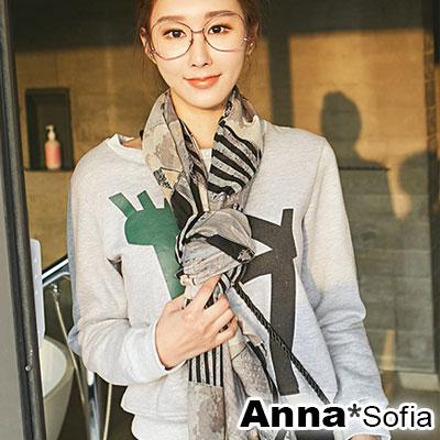 【2件450】AnnaSofia 三角拼塊 拷克邊韓國棉圍巾披肩(灰黑米系)