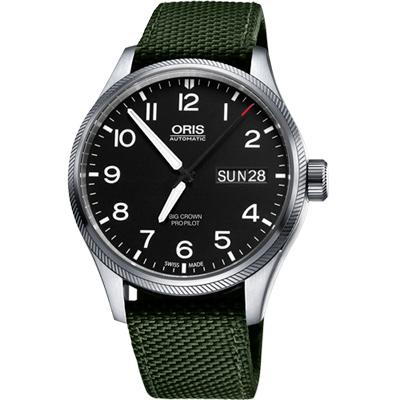 Oris Big Crown ProPilot 日曆星期機械腕錶-黑x墨綠錶帶/45mm