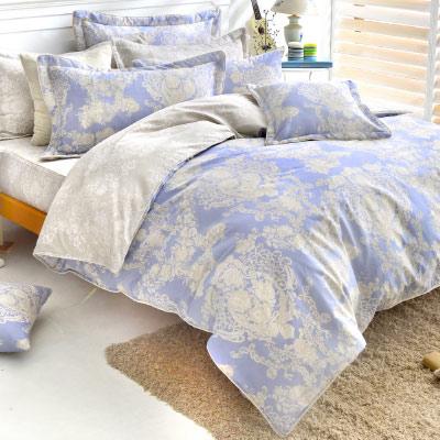 Grace Life 甜蜜戀香-藍 精梳純棉加大涼被床包四件組