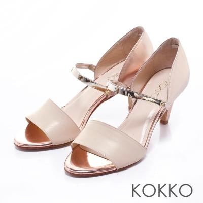 KOKKO真皮手工性感拼接金屬魚口跟鞋粉金