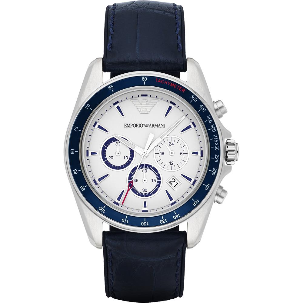 Emporio Armani Classic 雅爵計時錶-白x藍/44mm