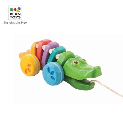 GMP BABY PLAN TOYS 壓縮木彩虹鱷魚拉車