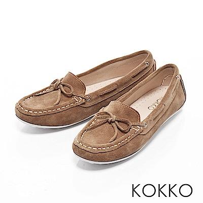 KOKKO - 極致手感蝴蝶結羊麂皮莫卡辛便鞋-焦糖棕
