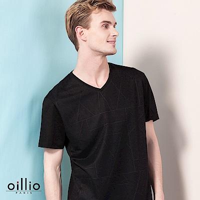 歐洲貴族oillio 短袖T恤 細膩壓紋 素面V領 黑色