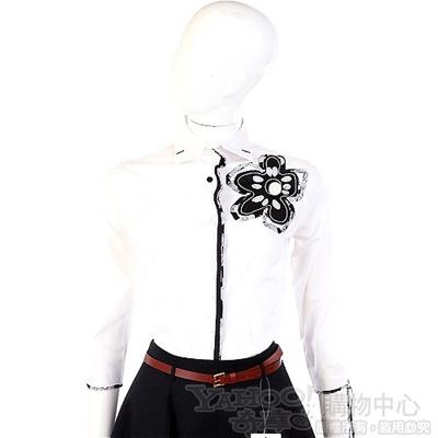 KENZO-antonio marras 白色花朵綴飾七分袖襯衫