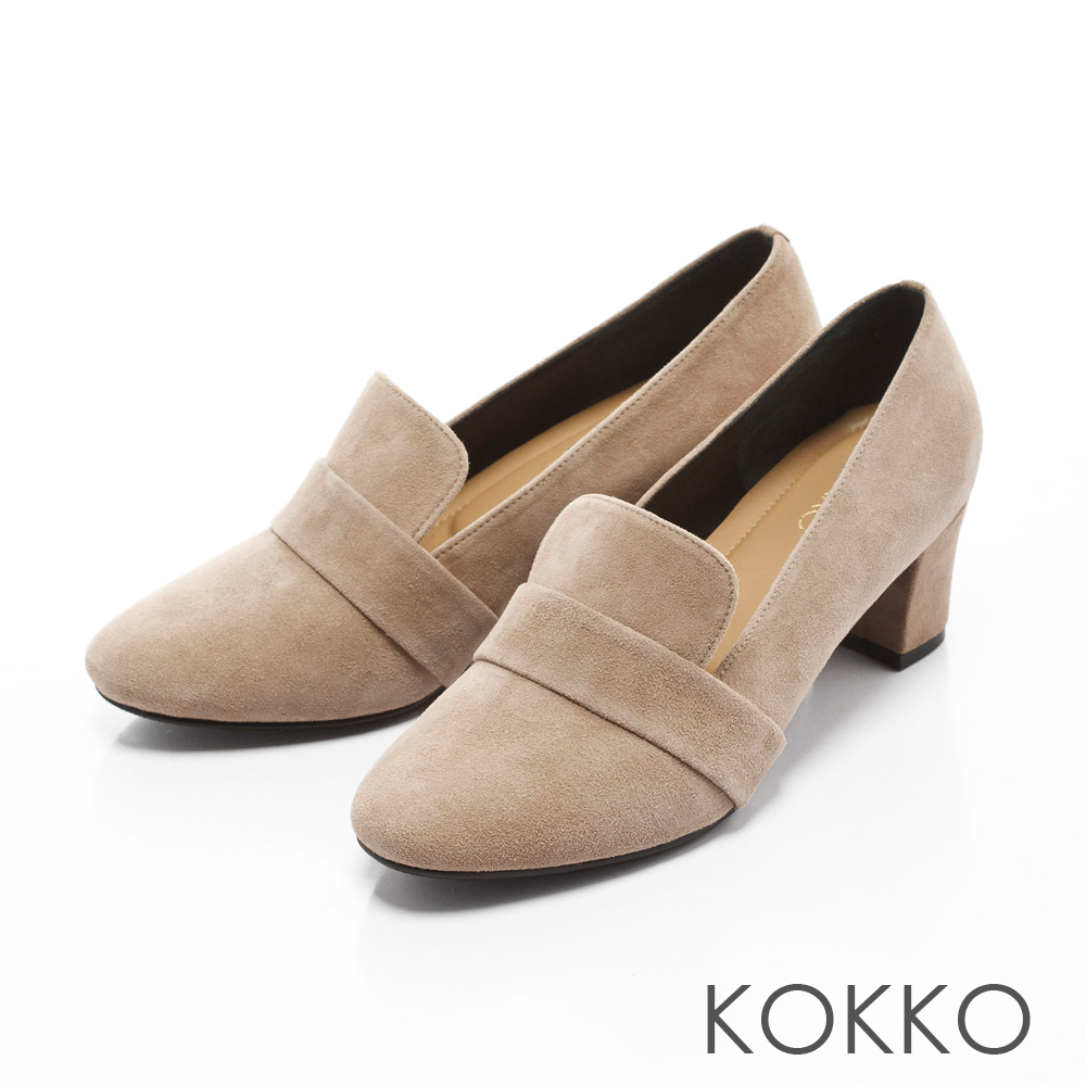 KOKKO-時髦女紳粗跟真皮樂福鞋-奶茶灰