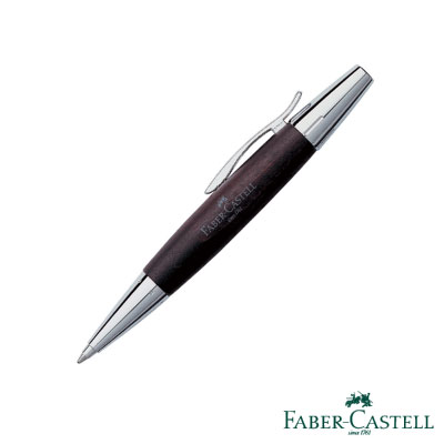 Faber-Castell E-MOTION-高雅梨木系列旋轉原子筆 (銀亮面)