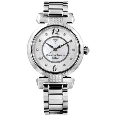 CHRISTIAN BERNARD 伯納錶 真鑽 珍珠母貝不鏽鋼手錶-銀色/32mm