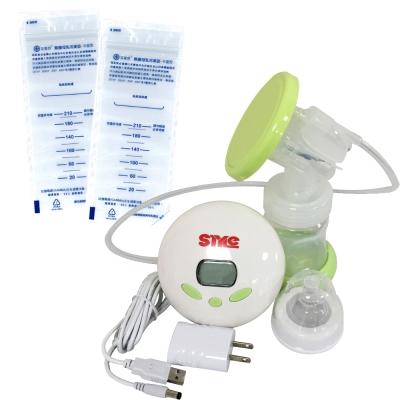 超靜音八段式液晶電動手動吸乳器+芬蒂思 平面型母乳冷凍袋/210ml/60入/贈30抽濕巾