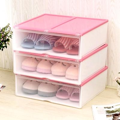 美樂麗 加長款 掀蓋式多功能收納盒 - 粉紅 *6入