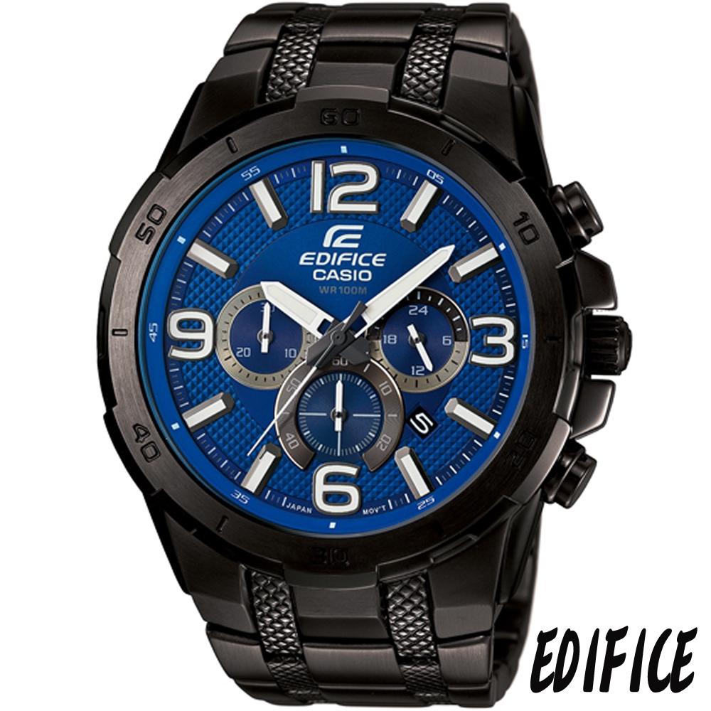EFIDICE 型男魅力三眼計時腕錶(EFR-538BK-2A)-藍x黑/49mm