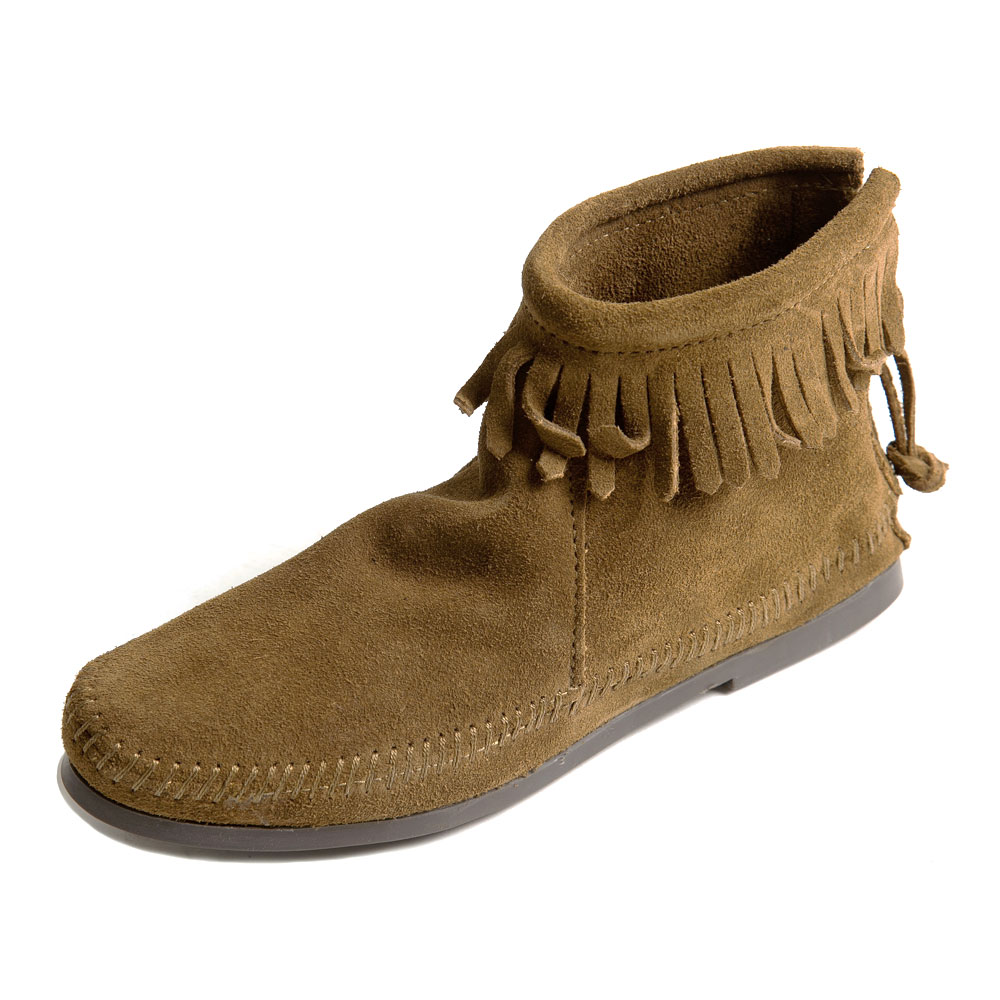 MINNETONKA-BACK ZIPPER BOOT經典麂皮流蘇踝靴-咖啡色