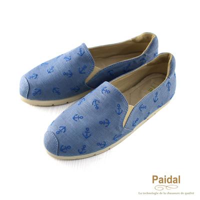 Paidal 海洋風小海錨電繡休閒鞋樂福鞋懶人鞋-藍