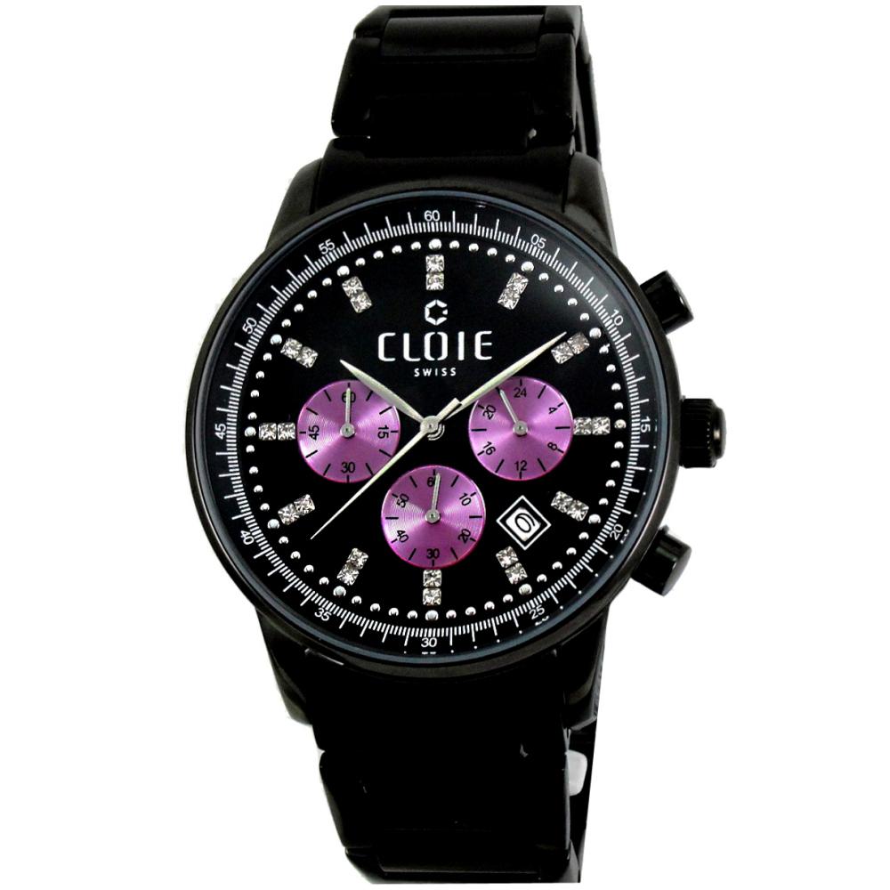 CLOIE 珍藏永恆全日曆時尚腕錶-黑/43mm