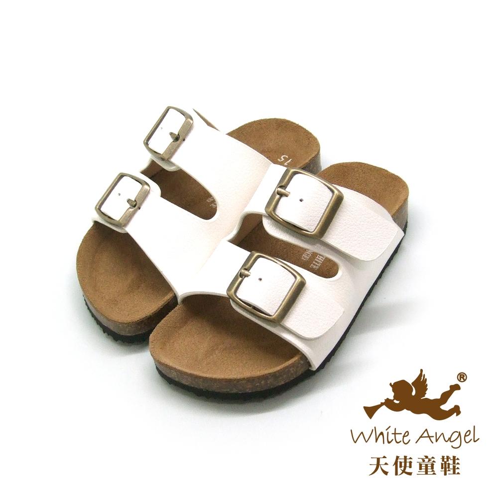 天使童鞋-J838 悠閒馬德里親子拖鞋(中-大童)-白