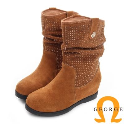 喬治-抓皺麂皮水鑽厚底真皮中筒靴-土黃色
