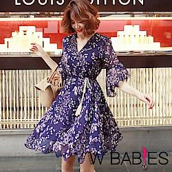 W BABIES花紋流蘇荷葉邊洋裝