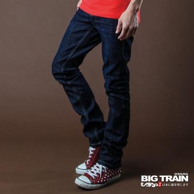 BIG TRAIN 彈性超窄小直筒褲-男-中藍
