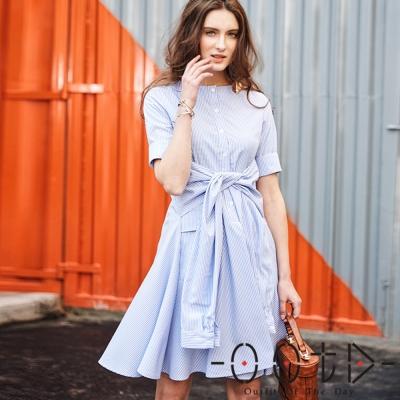 條紋綁帶短袖襯衫洋裝-淺藍色-OOTD