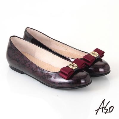 A.S.O 優雅時尚 真皮美型圖騰蝴蝶結飾平底鞋 酒紅