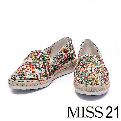 休閒鞋 MISS 21 絢爛繽紛編織造型草編厚底休閒鞋-紅黃